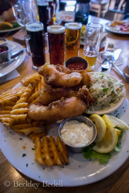 Fish and chips and a beer sampler, the perfect Sunday lunch.